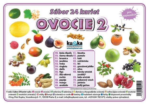 Súbor 24 kariet - ovocie 2