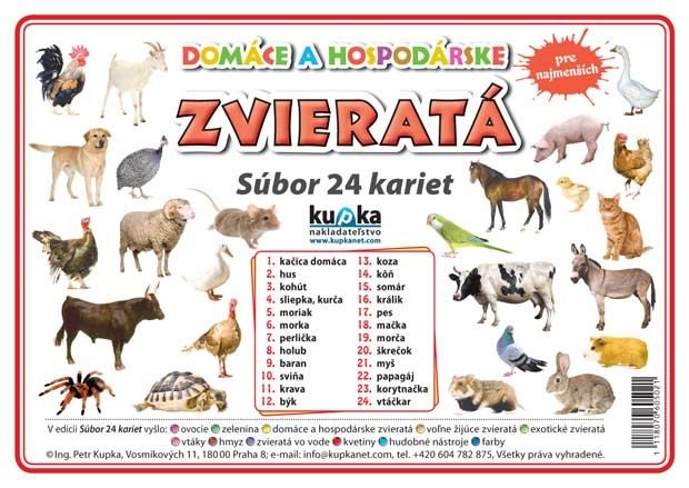 Súbor 24 kariet - domáce zvieratá