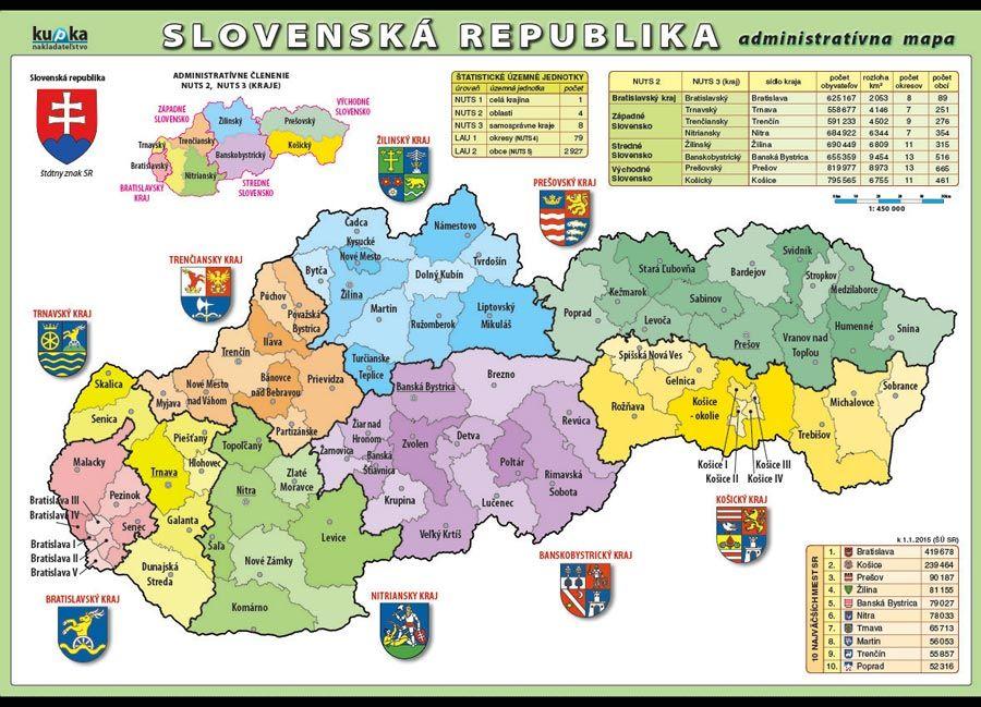 Slovenská republika - administratívna mapa