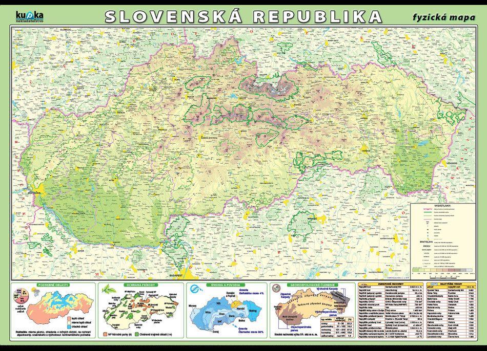 Slovenská republika - fyzická mapa