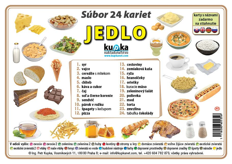 Súbor 24 kariet - jedlo